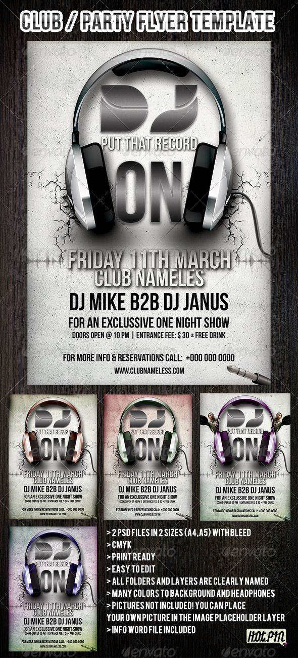 Party\/club flyers and poster template Party flyer, Template and - free poster templates for word