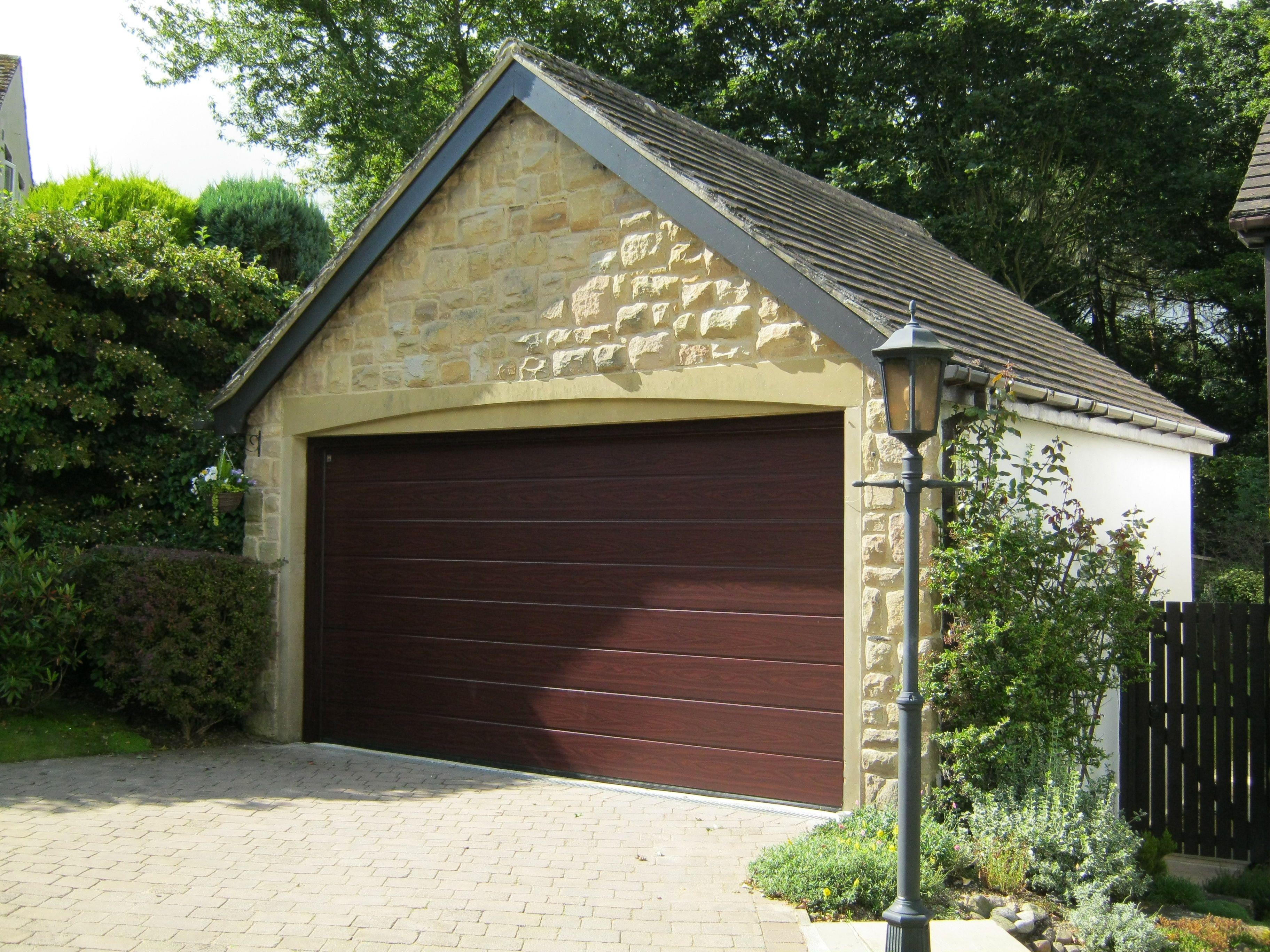 Modern Hormann M Ribbed Sectional In Decograin Rosewood Garagedoor Sectional Garage Doors Garage Doors Electric Garage Doors