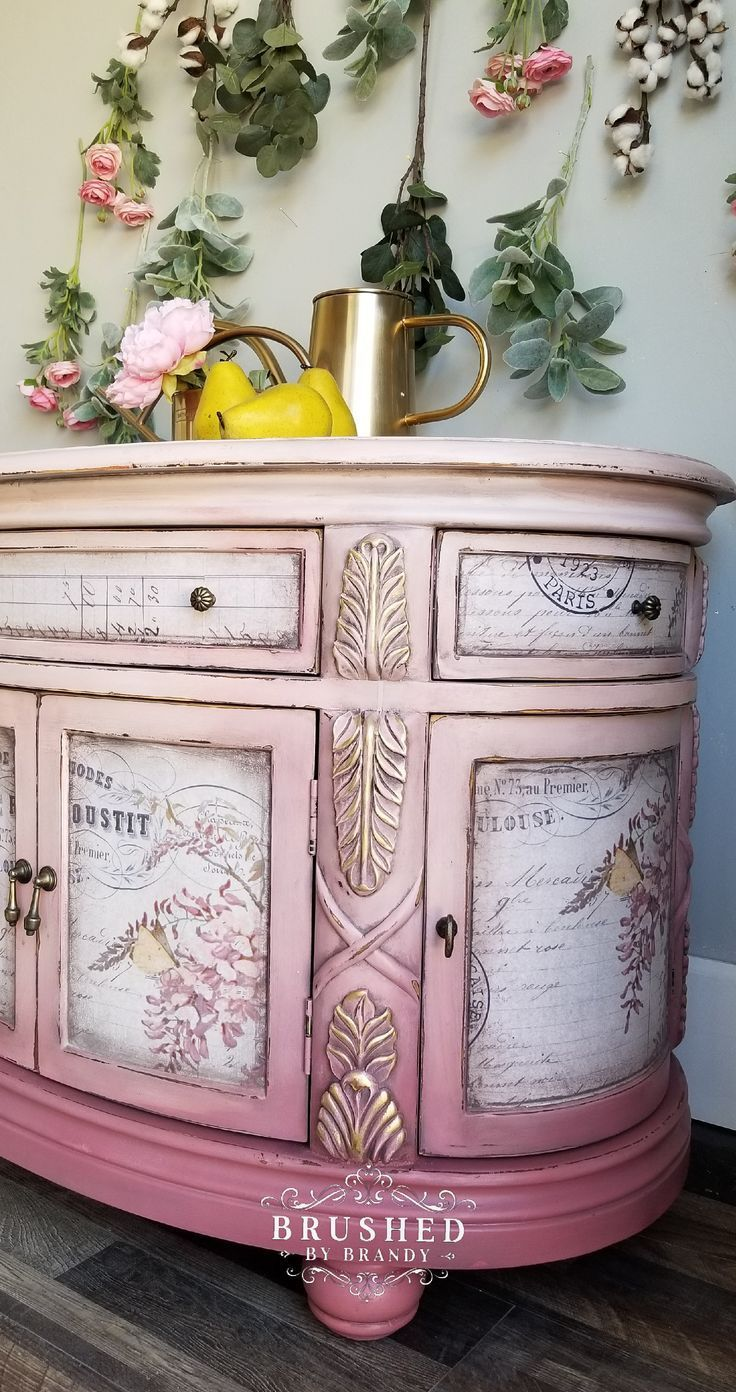 How to Paint a Pink Piece is part of Pink furniture, Decoupage furniture, Redo furniture, Funky furniture, Chic furniture, Diy furniture - This circular cabinet got a blended makeover from Brushed By Brandy! Learn how to create this stunning soft pink look on your furniture
