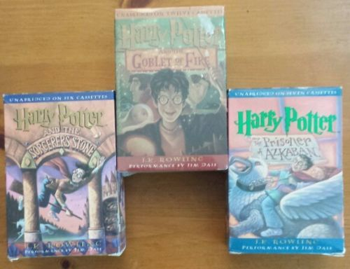 Lot of 3 Harry Potter Audio cassettes Books on tape Jim Dale Rowling FREE SHIP