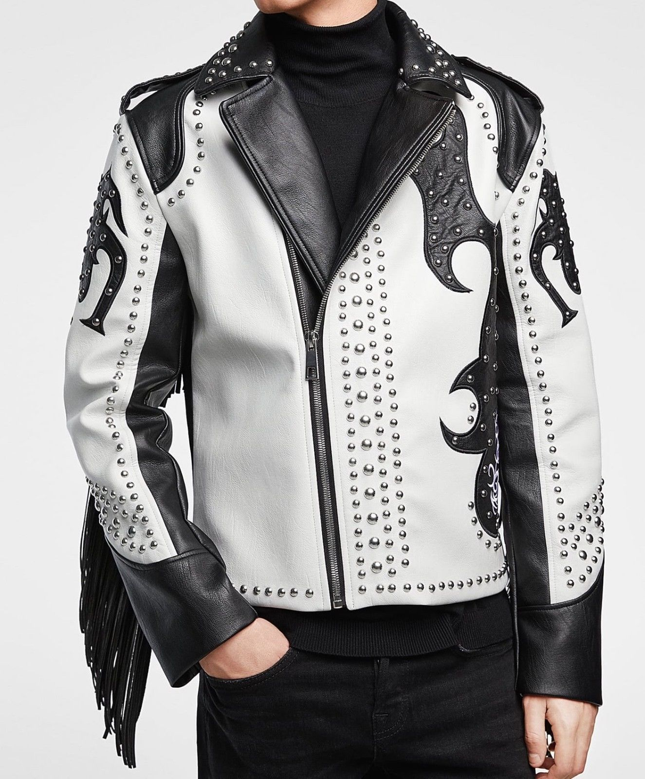 New Men,s Handmade Black and White Leather silver Studded