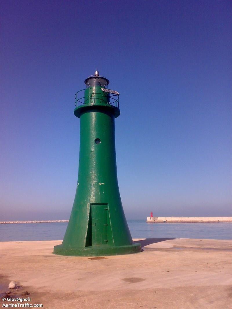 Ancona Molo Foraneo Sud light - AIS Marine Traffic,  End of south mole at Ancona, NE coast of Italy