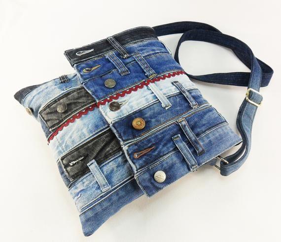Denim Upcycled Tasche blau Denim Crossbody Jeans Schule Tasche Reisetasche Flap Jeans Tasche Laptop Tasche Stoff Vegan Tasche Eco freundliche große Jeans Geldbörse