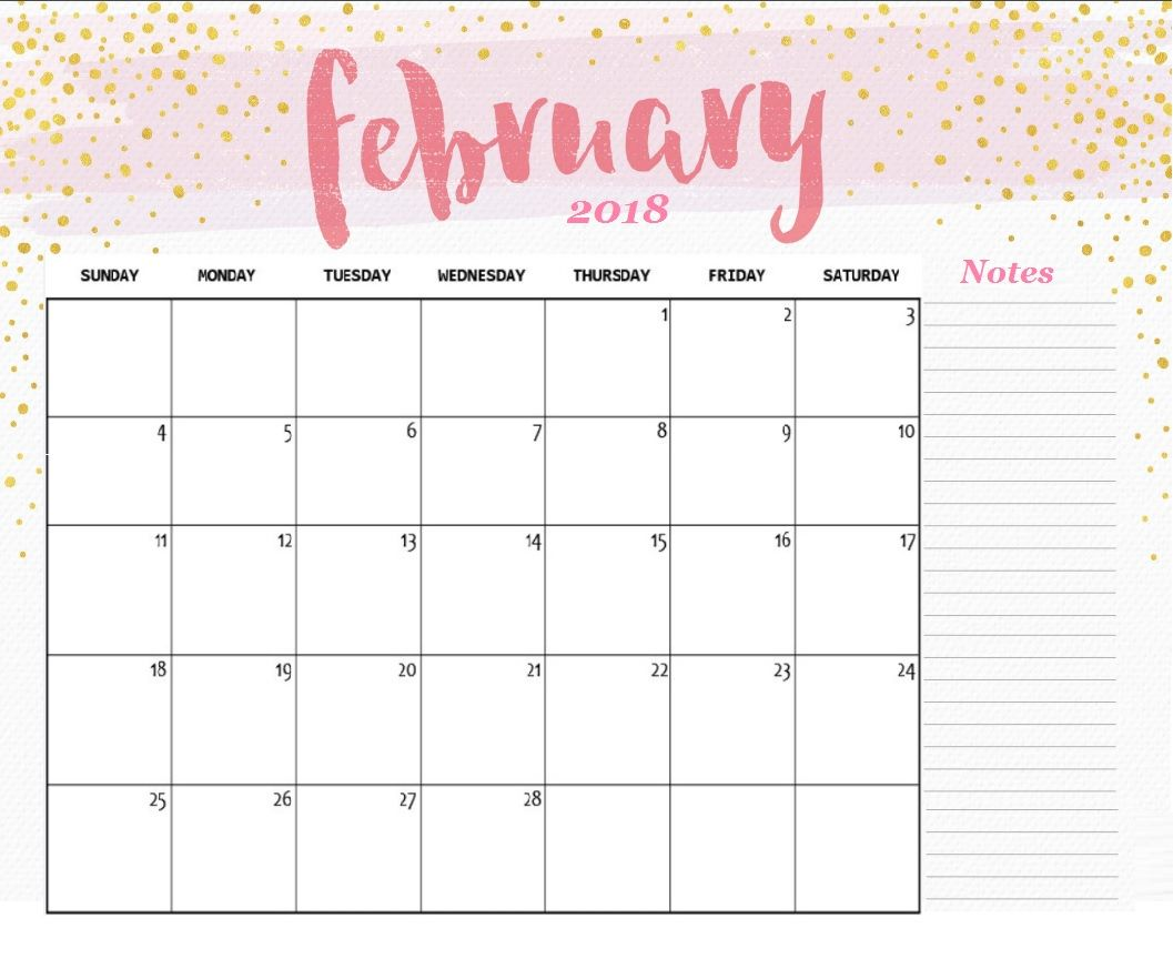 picture regarding Cute Calendars known as February 2018 Lovable Wall Calendar Calendar Strategies