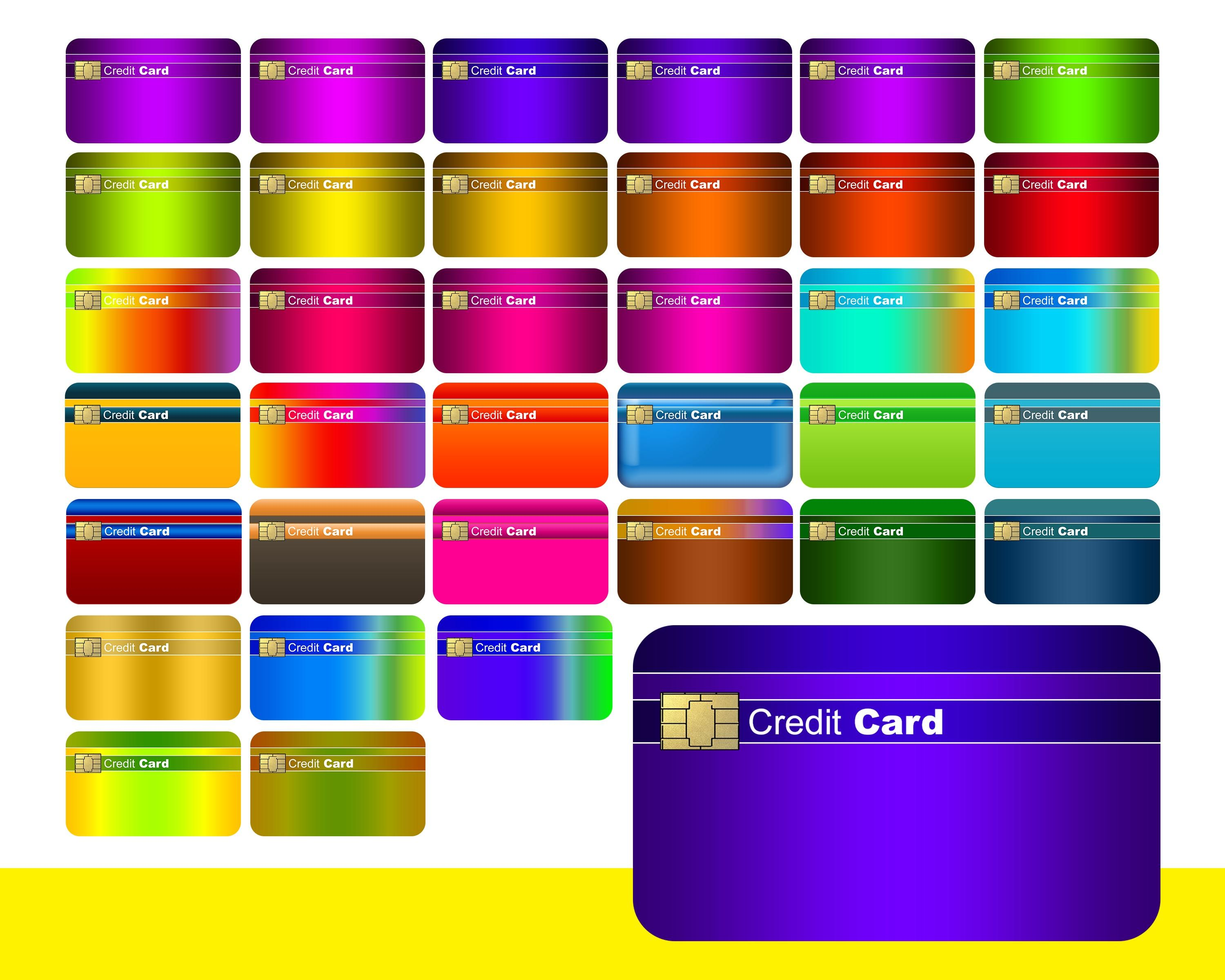 2021 blank credit card digital clipart instant download