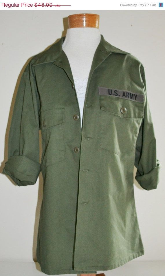 Vintage Military US Army Shirt Vietnam Era OG 507 Army Green Utility ... 4cd741ff5e