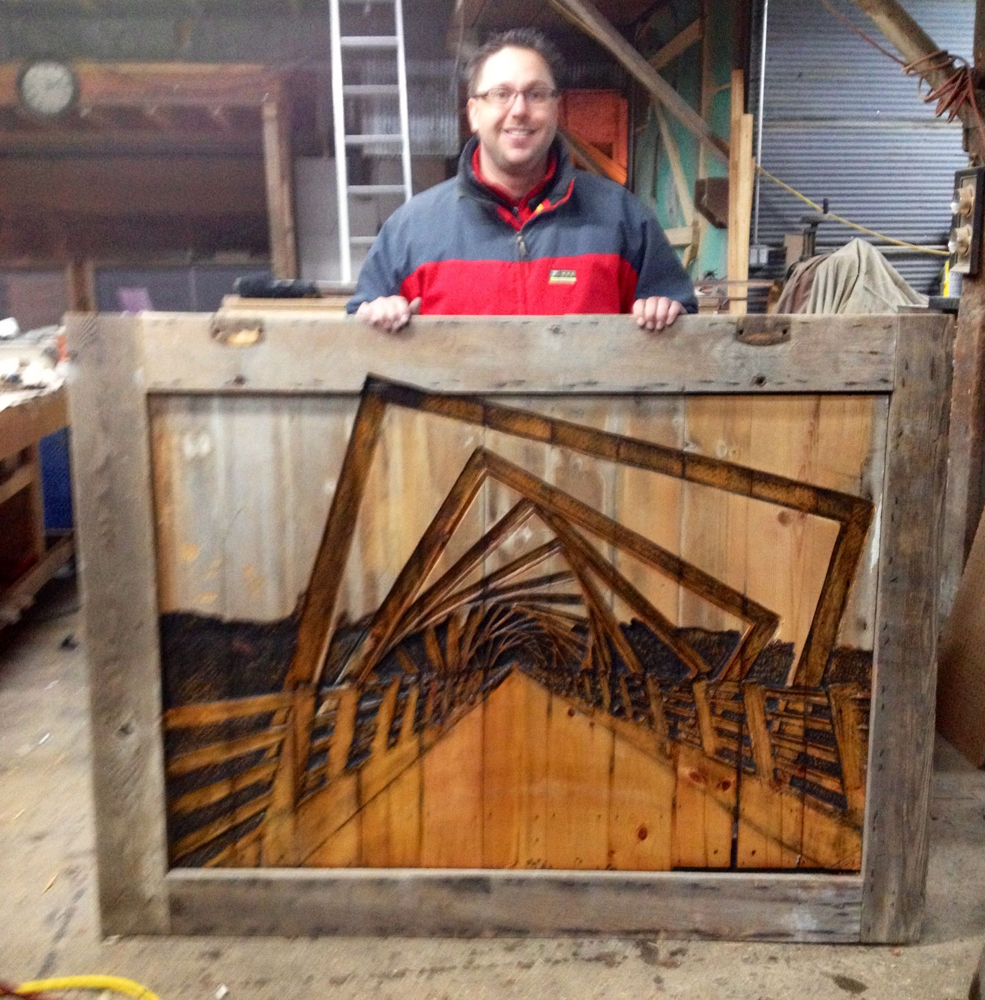 Barn door we carved with the 1 mile bike bridge located in Woodward, IA. The High Trestle Trail