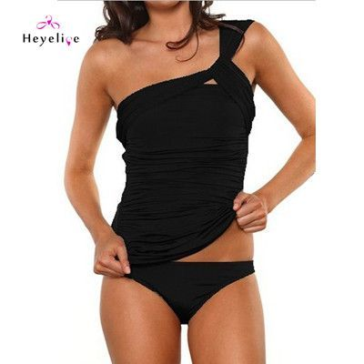 309a032ebfb81 Single Shoulder Two Pieces Swimwear Women Solid Sexy Swimsuits Beach Girls  New Bathing Suits Swimming Suit Retro