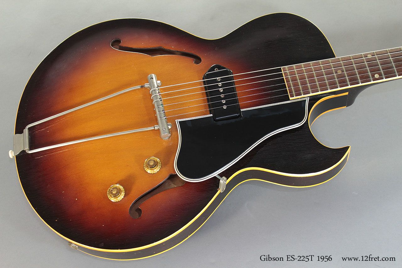 Built from 1955 to 1959, the Gibson ES-225T was a thinline but fully hollow, single P-90 pickup, florentine cutaway guitar. In 1956, a two pickup version was introduced, the ES-225TD.