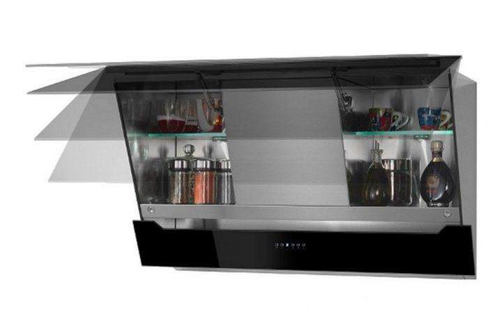 Kopffreihaube loredana 90 cm glas schwarz küche dunstabzugshaube