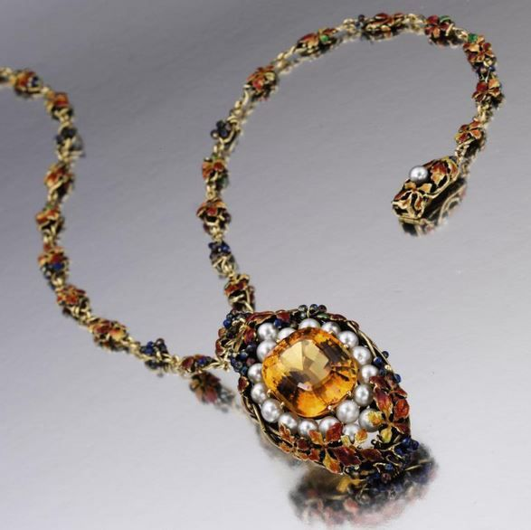 Gold, Citrine Quartz, Pearl and Enamel Pendant-Necklace, Tiffany & Co., circa 1910