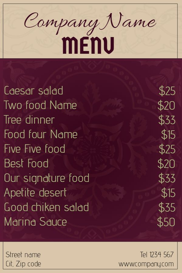 restaurant menu template click to customize menu templates