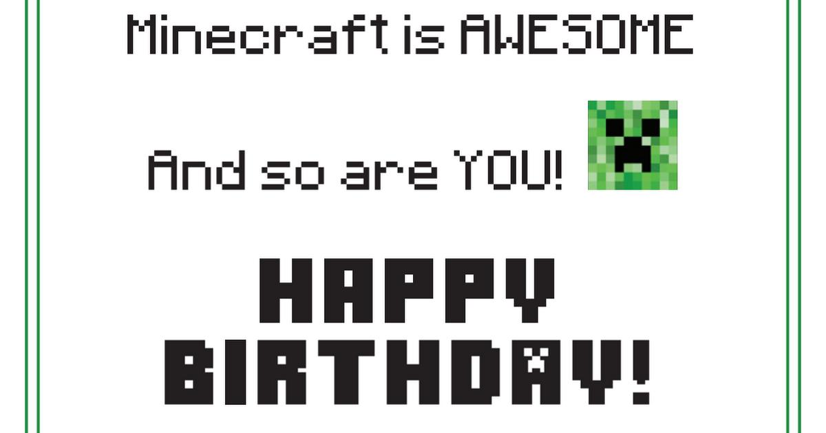Printable Minecraft Birthday Card Pdf Minecraft Birthday Birthday Cards Minecraft