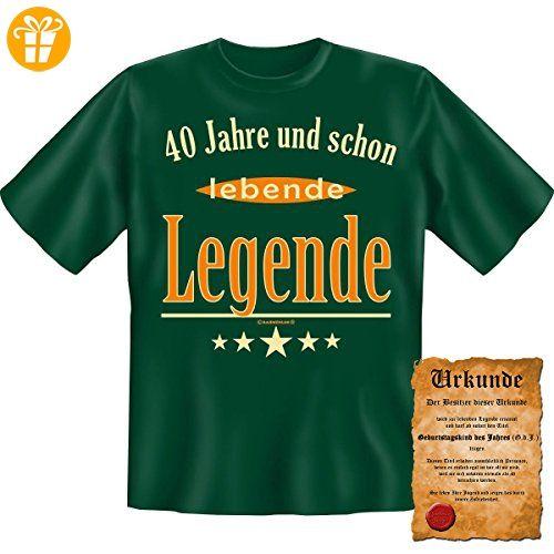 40 Jahre und schon lebende Legende! Fun T-Shirt in Dunkel Grün mit Gratis