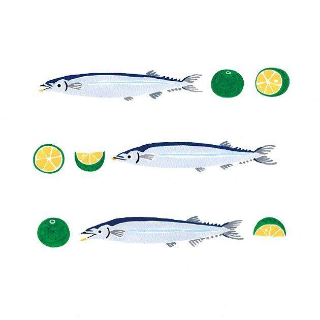 頂き物のすだちで秋刀魚を食べました 1尾に1 5個位贅沢に絞りました Illustration イラスト 絵日記 秋刀魚 すだち 秋の味覚 さんま イラスト イラスト さんま