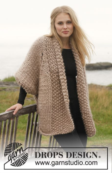 """Knitted DROPS jacket with lace pattern in """"Polaris"""". Size: S - XXXL ..."""