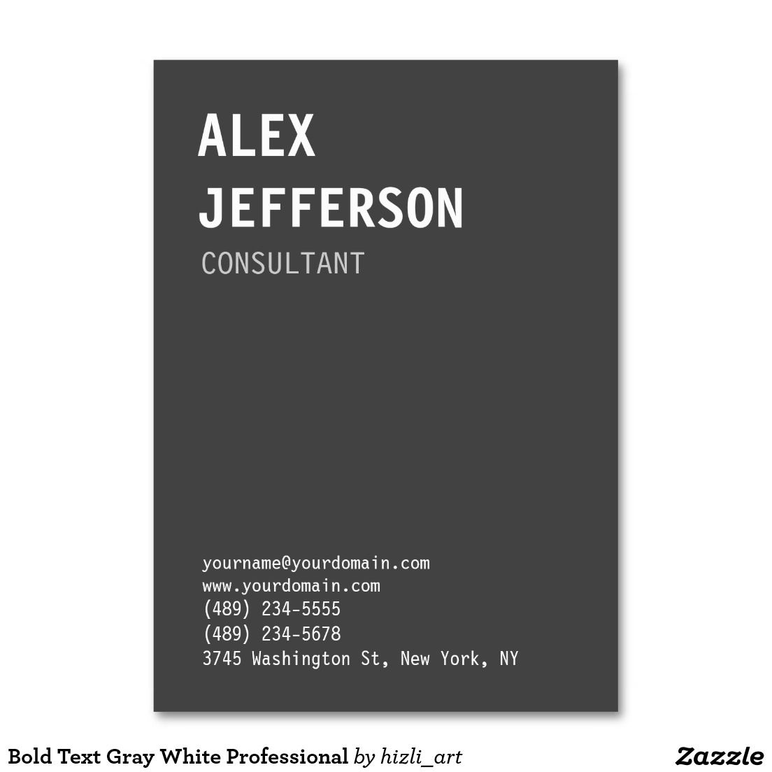 Bold text gray white professional large business card