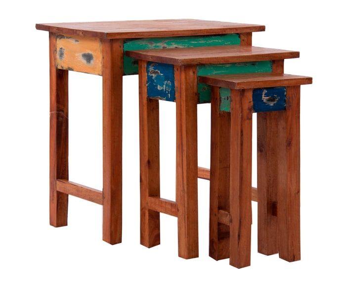 Set de 3 mesas auxiliares en madera de caoba Thrissur - multicolor