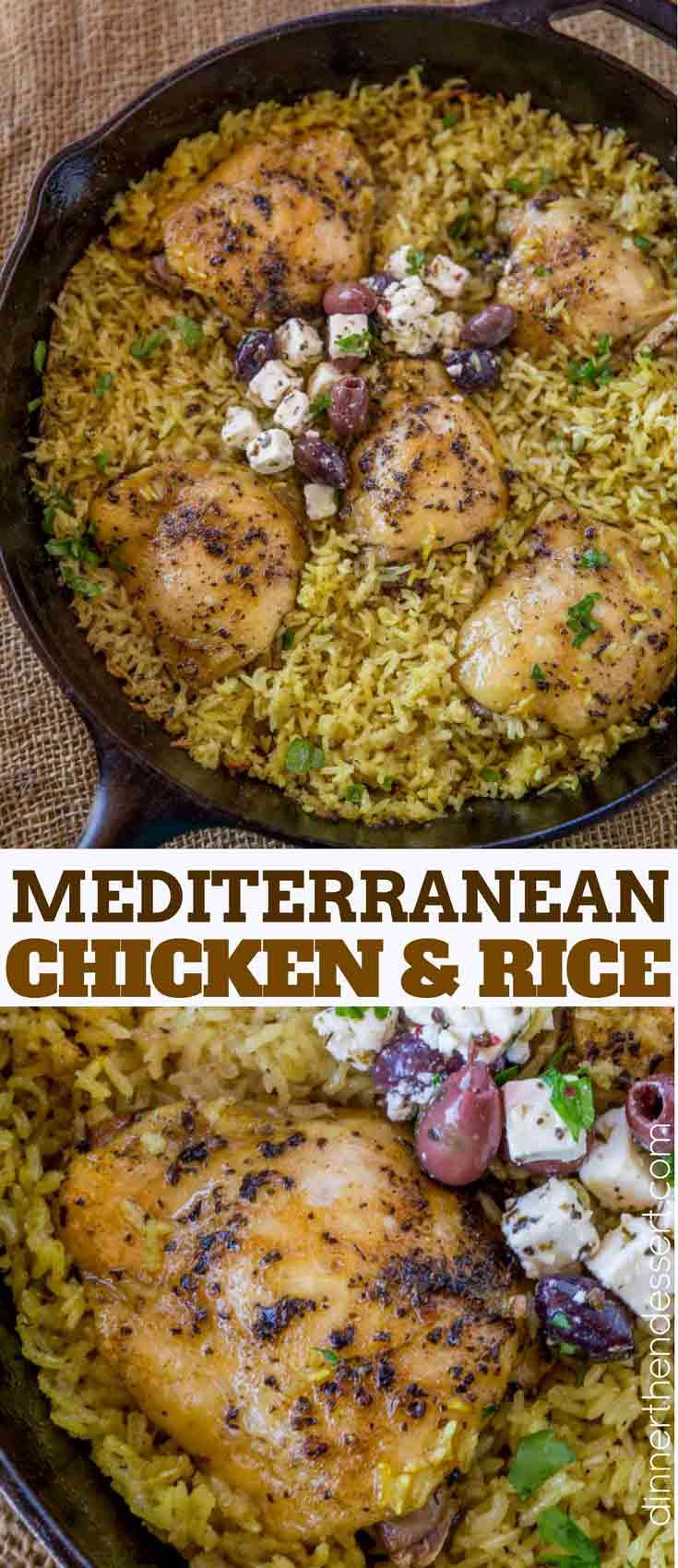 One Pot Mediterranean Chicken and Rice made with chicken thighs and turmeric seasoned rice baked in the oven until crispy and tender.