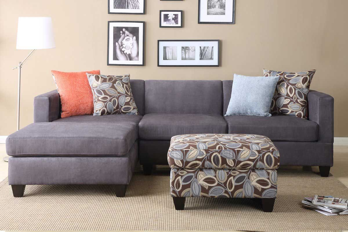 3 Discount Gray Microfiber Sectional Sofa Set with consumer ...