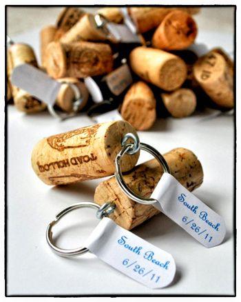 Avaimenperät viinipullon korkeista.