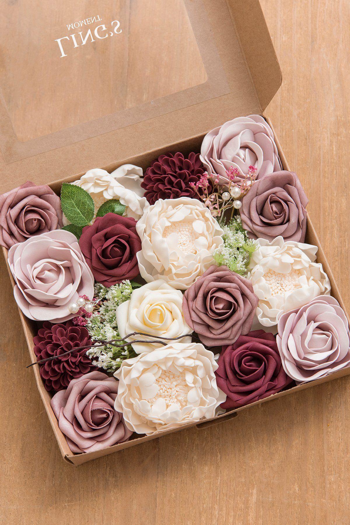 Dusty Rose Burgundy Flower Combo Box Set 14 Style In 2020 Mit Bildern Hochzeitsdeko Geschenkideen Hochzeit