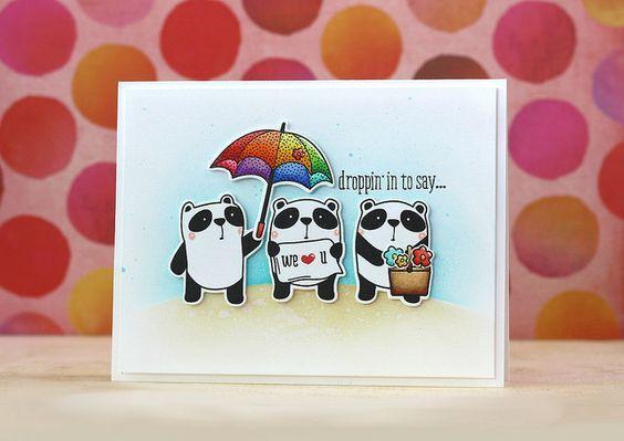 WPlus9: Friends For All Seasons: Spring, critter sketch, spring, umbrella, L. Bassen:
