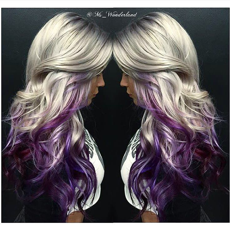 Throwing It Back To This Super Pretty Platinum Blonde W A Fun Pop Of Color Tag A Blonde Friend That Should Try Platinum Blonde Hair Peekaboo Hair Purple Hair