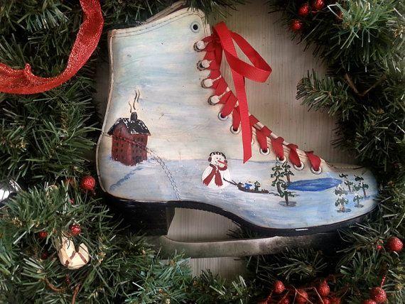 Ice skating snowman christmas decorations