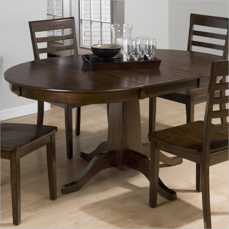 jofran round to oval dining table in taylor cherry - 342-60-kit