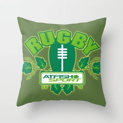 Atfish Sport Rugby Throw Pillow by TheArtistGrimm - $20.00