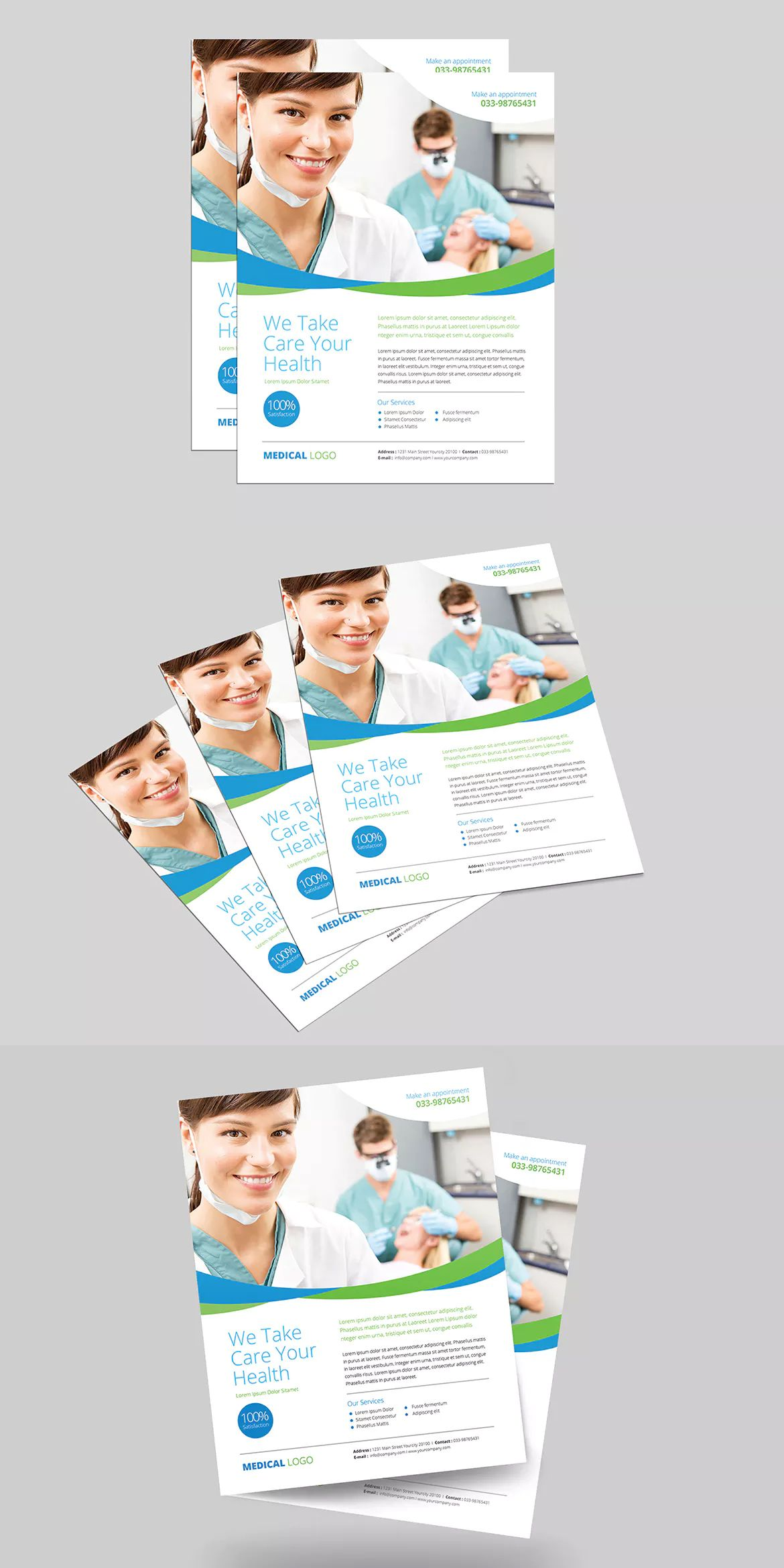 Clean Medical Flyer Template Ai Psd Us Letter Size  Flyer Design