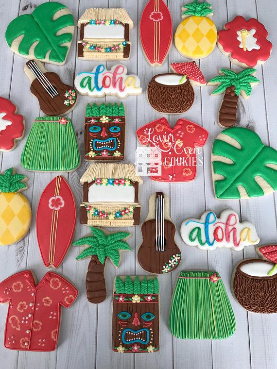 Hawaiian Luau Theme Decorated Cookies - 2 Dozen #hawaiianluauparty Hawaiian Luau Theme Decorated Cookies - 2 Dozen #hawaiianluauparty