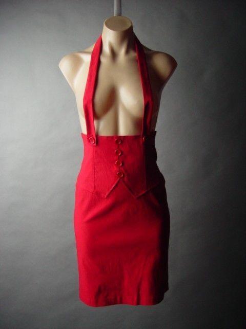 Red Suspender High Waist Waisted Vtg-y 50s Pinup Pencil 36 mv Skirt S M L XL 2XL #Other #StraightPencil