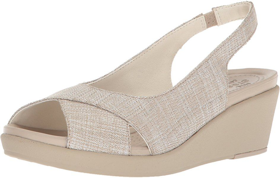 17778ef81e Amazon.com | Crocs Women's Leigh Ann Shimer Slngbck WDG W Wedge Sandal,  Oyster/Cobblestone, 9 M US | Platforms & Wedges