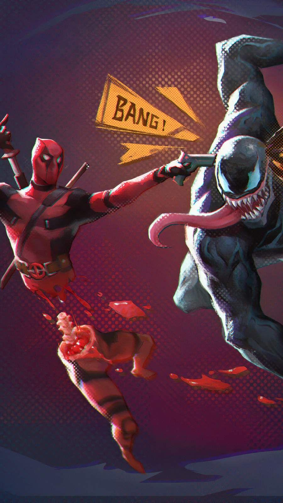 Download Deadpool Vs Venom Shoot IPhone Wallpaper Top Free