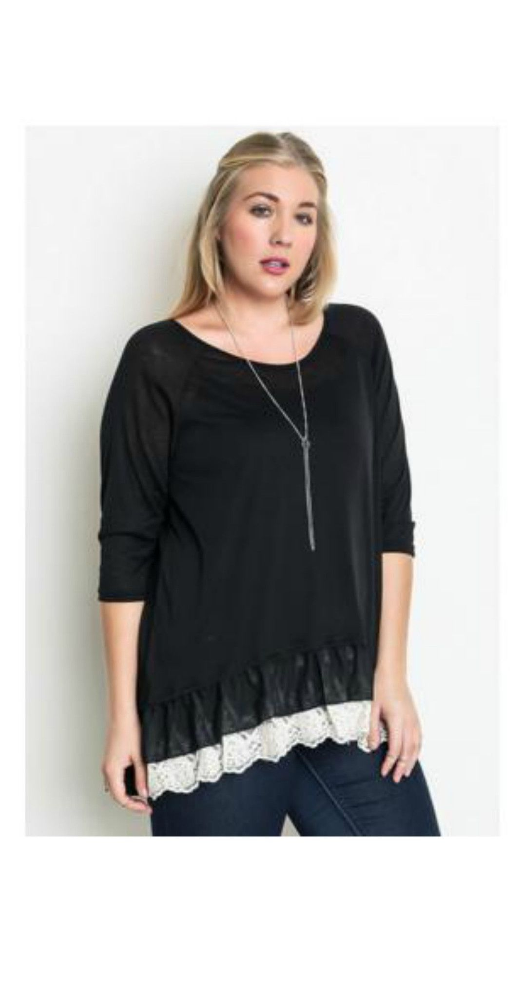 Curvy tops perfect ruffles tunic black products pinterest
