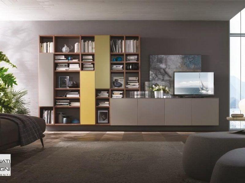 Mobile da soggiorno sospeso, con libreria a giorno con ante e basi ...