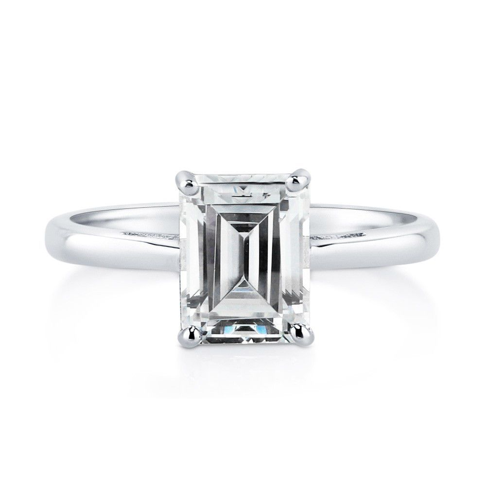 ring gallery cathedral engagement rings emerald cut solitaire