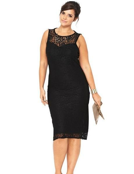 Plus Size Calf Length Black Evening Dresses