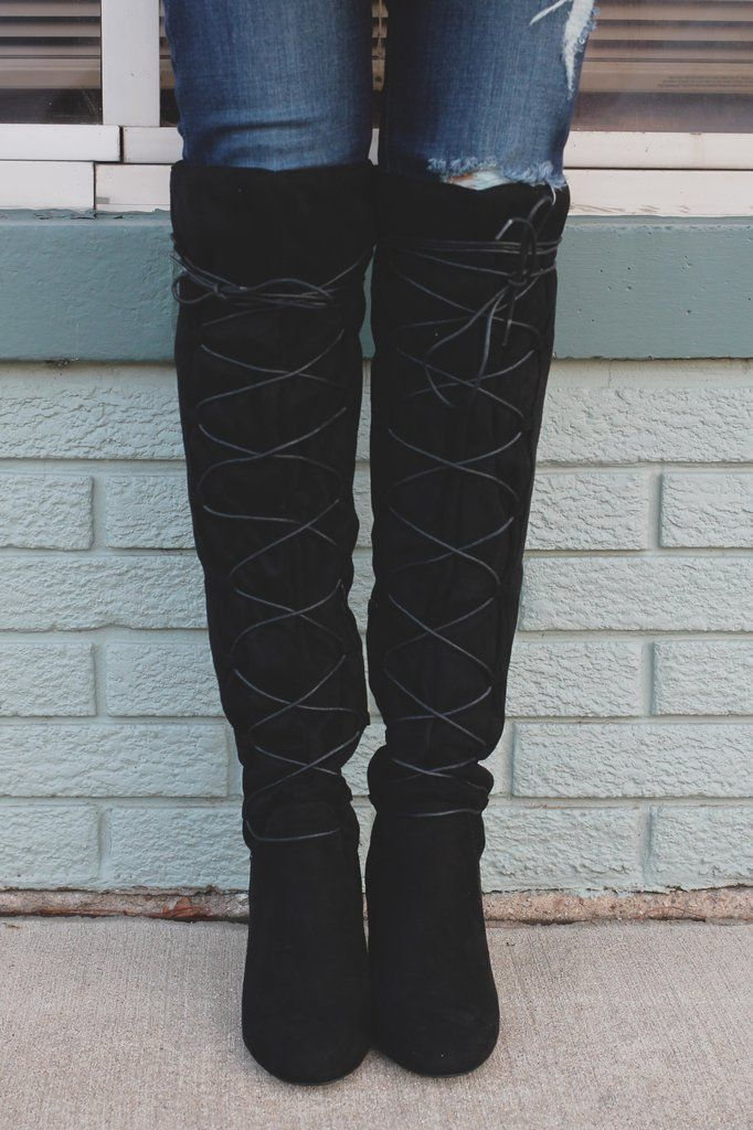 Round Toe Lace Up Over the Knee Boots York-02 – UOIOnline.com: Women's Clothing Boutique