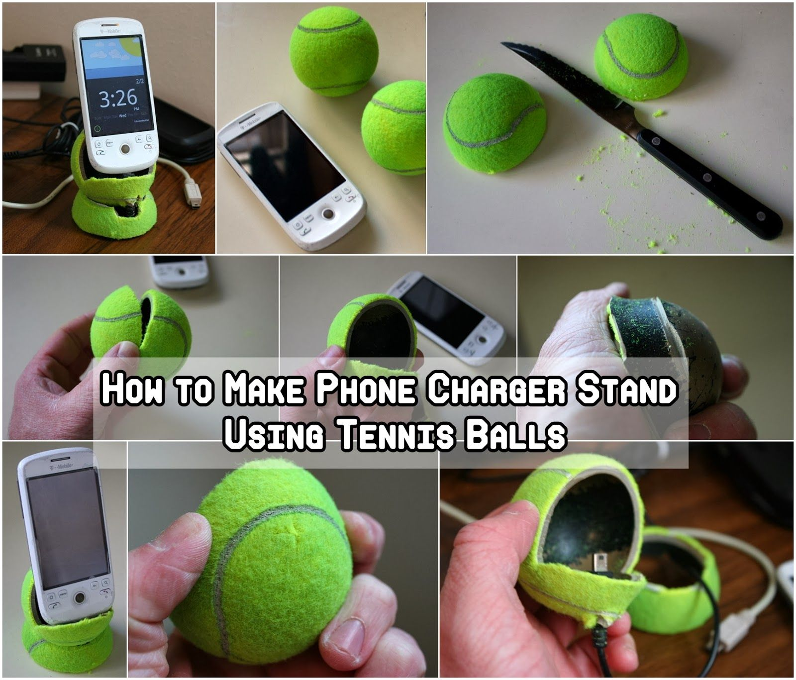 diy phone charger stand using tennis balls fathers day gifts