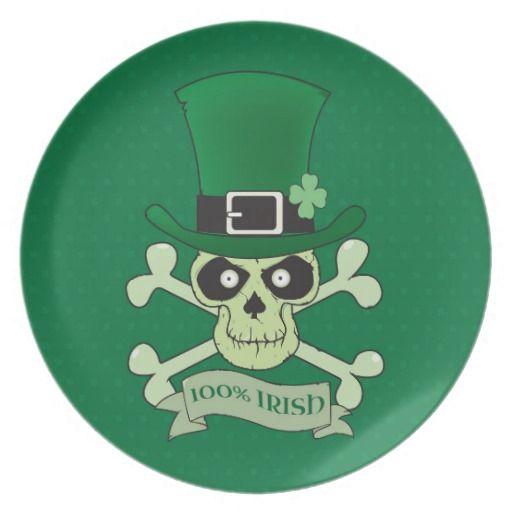 100% Irish.Green lucky irish skull Plates