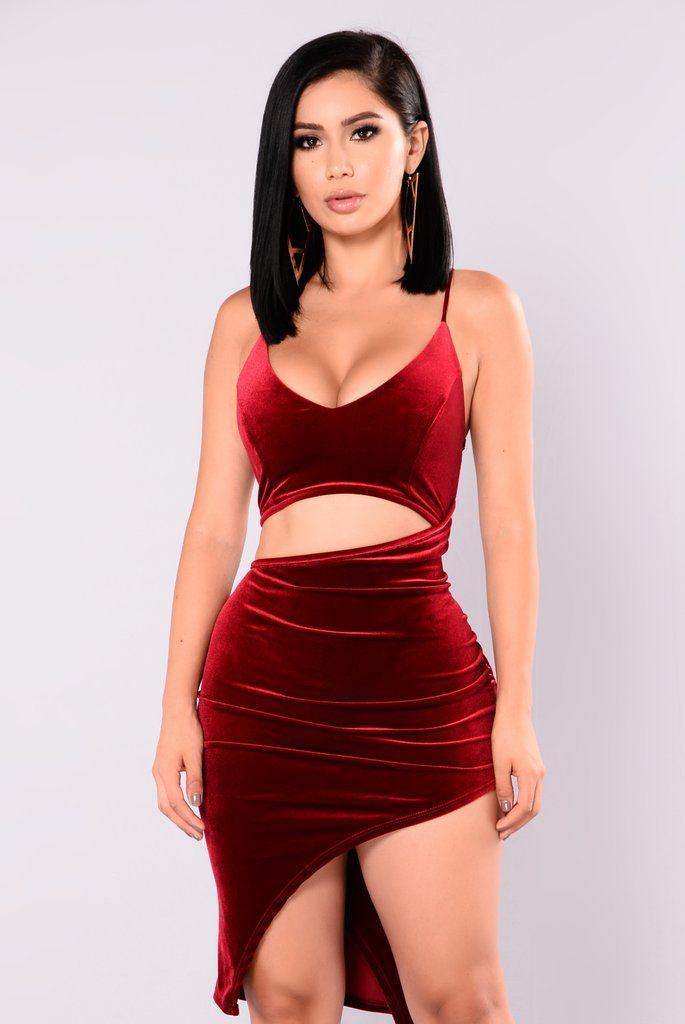 021d730213 Joss Velvet Dress - Burgundy