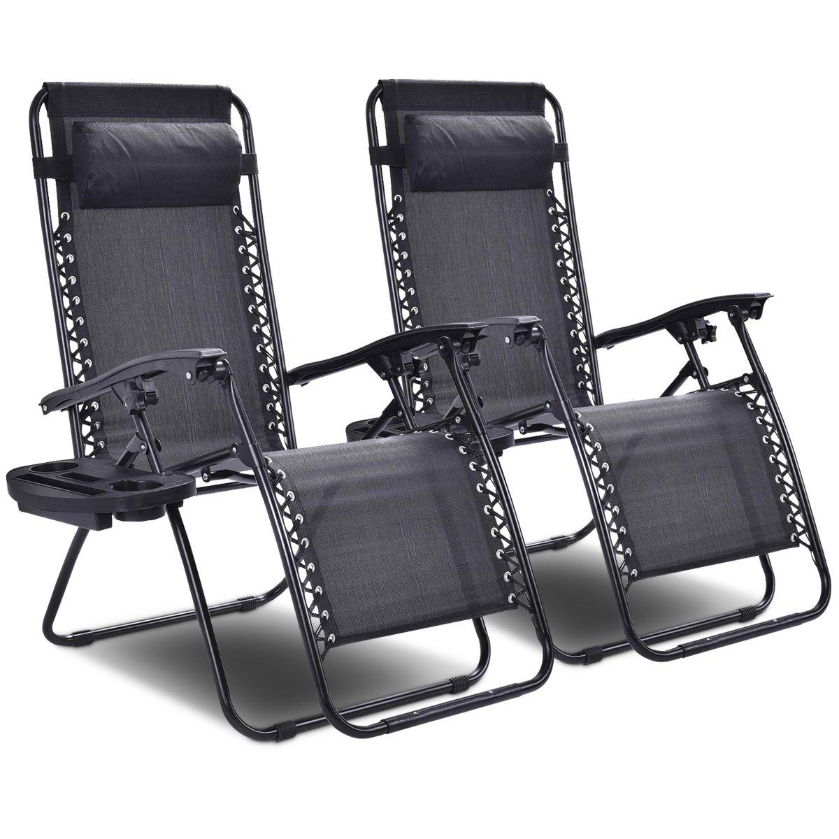2PC Zero Gravity Chair Adjustable Recliners Textiliene