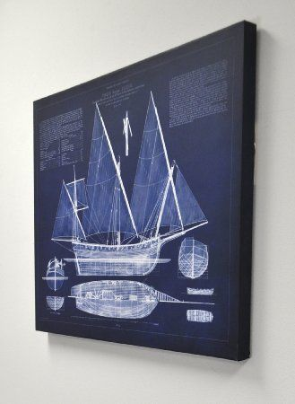 Amazon kate and laurel antique ship blueprint 24in x 30in amazon kate and laurel antique ship blueprint 24in x 30in blue canvas wall malvernweather Choice Image