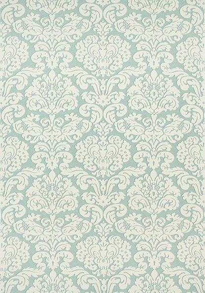 TRELAWNY DAMASK, Aqua, F914217, Collection Imperial Garden from Thibaut