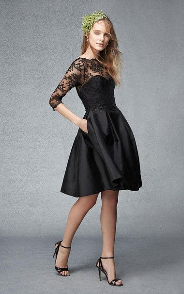 Black Bridesmaid Dresses Short | 3 4 Sleeves Short A Line Bateau Black Bridesmaid Dress With Lace