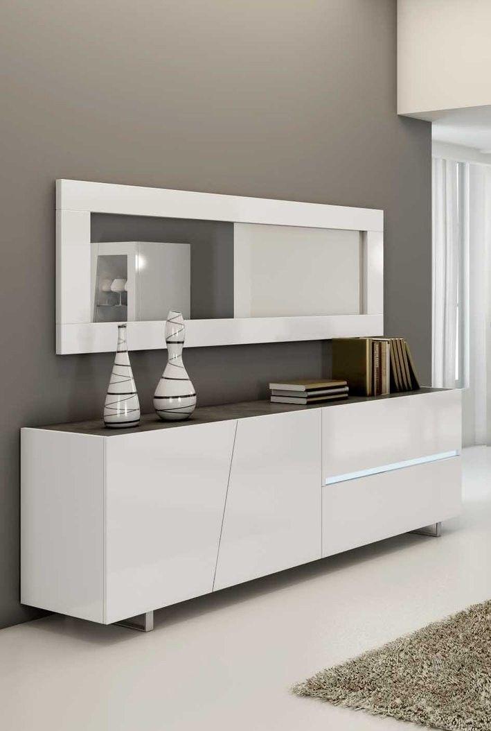 Bahut buffet design laqué blanc LIZEA, 2 portes - 2 tiroirs ...
