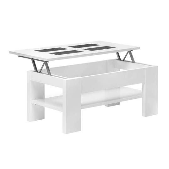 Table Basse Relevable Ludo Blanc Table Basse Relevable Table Basse Idees De Decoration Interieure